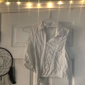 Tops - Cropped white lace button down!